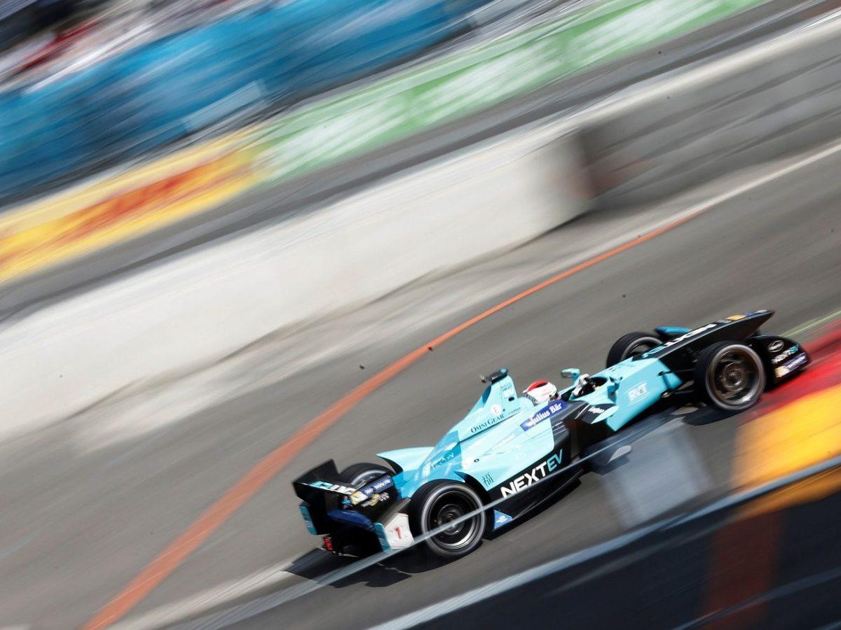 Brazilian Formula E driver Nelson Piquet of Team Nextev TCR zooms ahead in Berlin earlier this year. REUTERS/Hannibal Hanschke