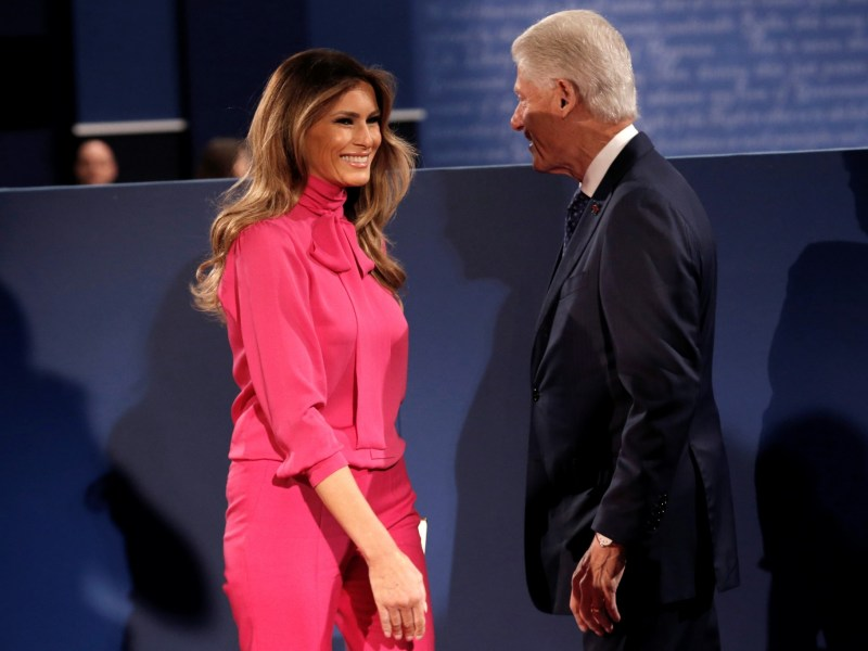 Former US President Bill Clinton and Melania Trump greet each other before the second debate between Donald Trump and Hillary Clinton, in St. Louis, Missouri. Photo: Reuters/ Mike Segar