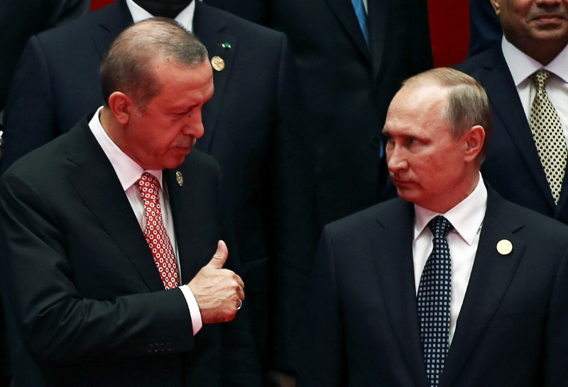 Turkish President Tayyip Erdogan and his Russian counterpart Vladimir Putin. Photo: Reuters