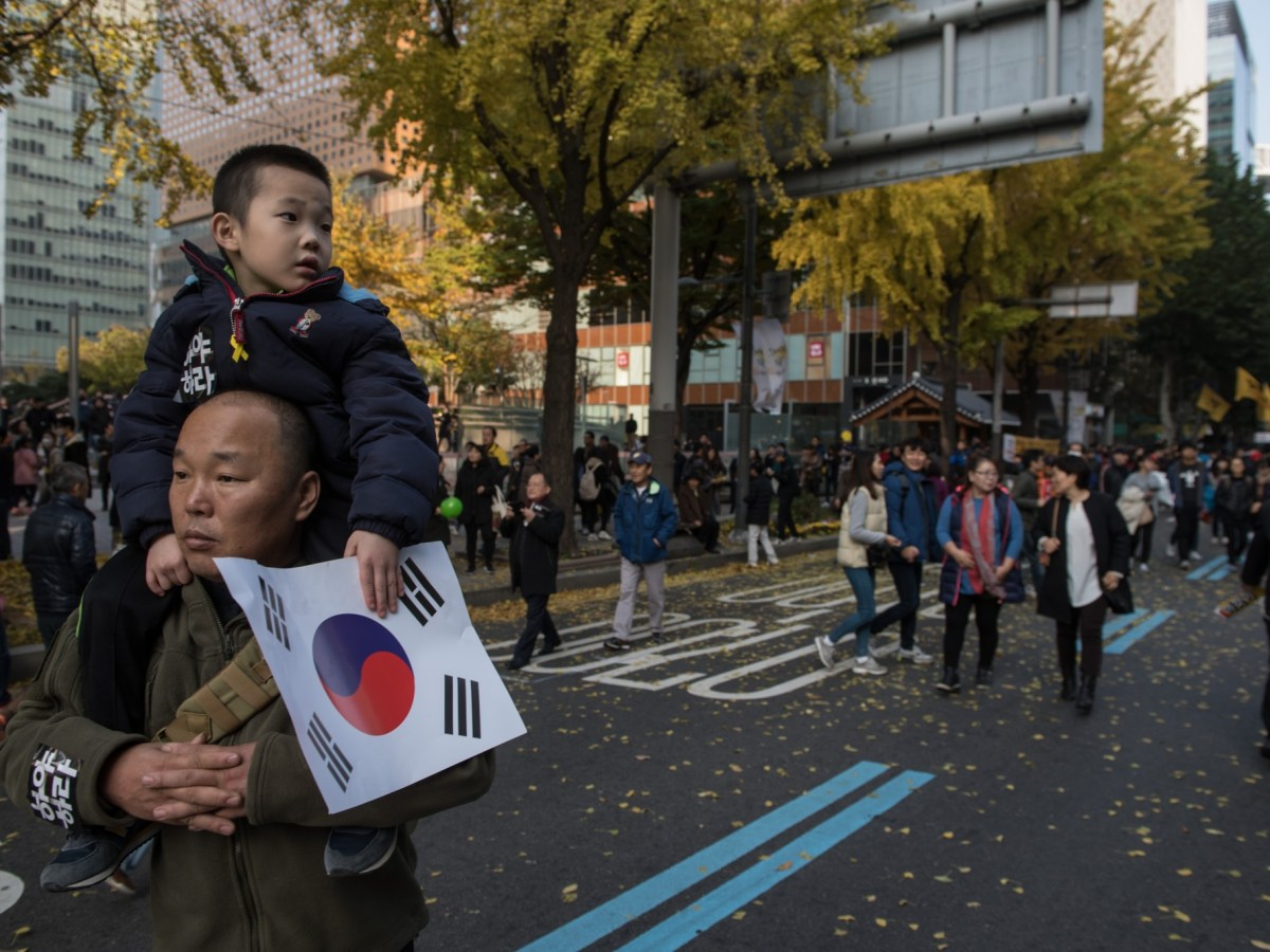 Anti-government protest in Seoul have brought out  a cross-section of the country. Photo: Ed JONES / AFP
