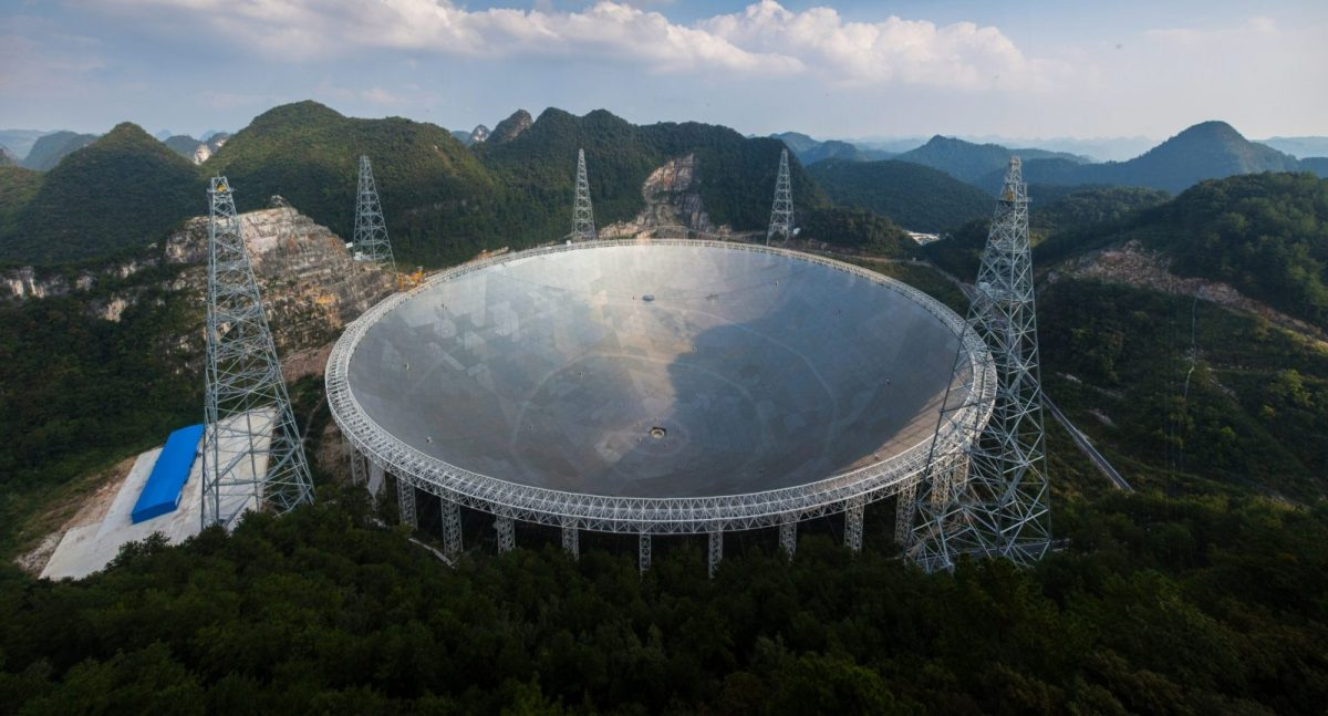 FAST, a giant silver dish the size of 30 football fields in Guizhou province, is described as humanity's best bet for finding aliens. Photo: AFP