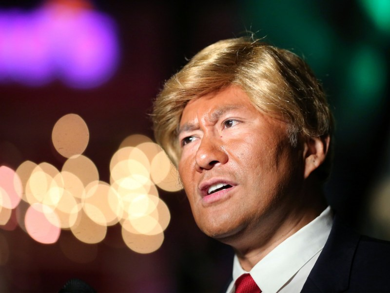 A reveller dresses as Republican presidential candidate Donald Trump at the West Hollywood Halloween Carnaval in West Hollywood, California, October 31, 2016. Reuters/David McNew