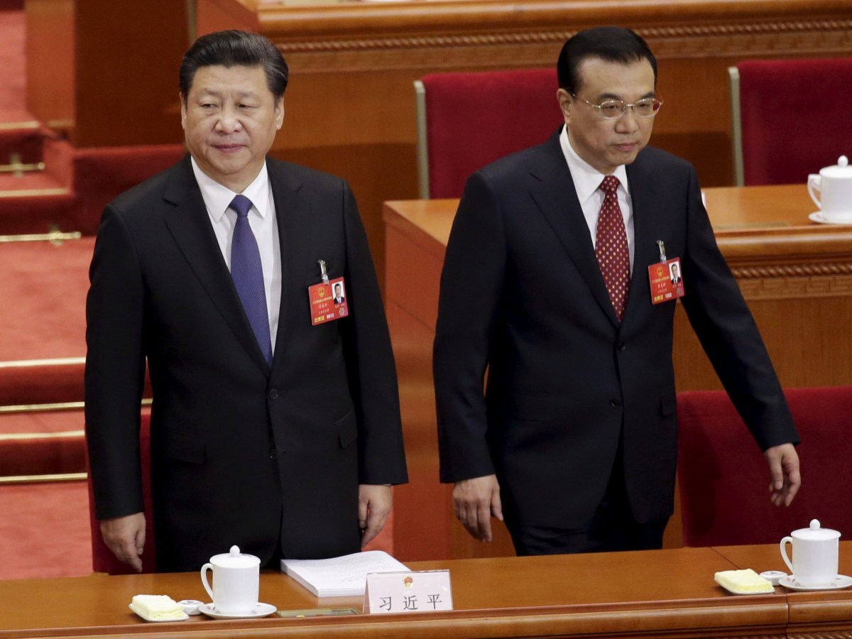 China's President Xi Jinping, left, is seen with  Premier Li Keqiang at the opening session of the National People's Congress in Beijing in March 2016. Photo: Reuters/Jason Lee