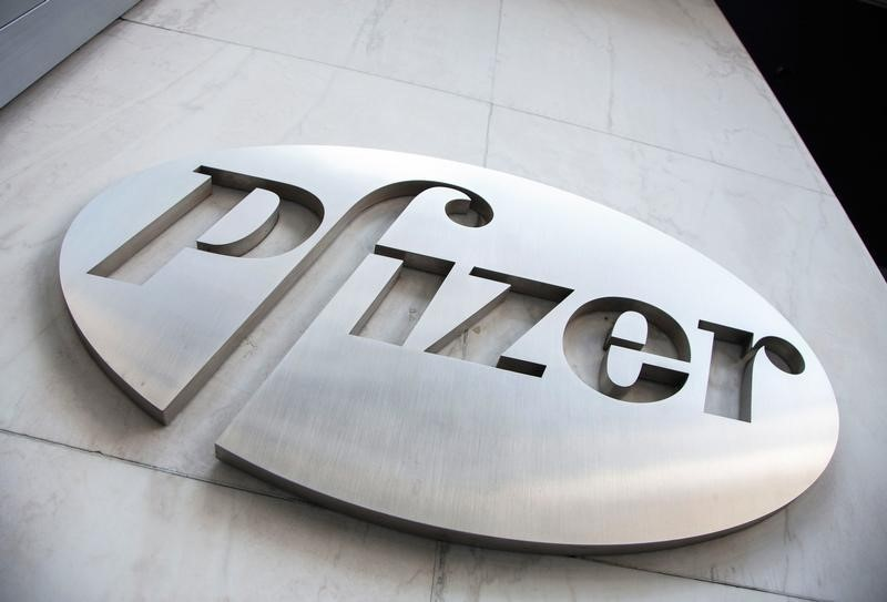 The Pfizer logo is seen at their world headquarters in New York. Photo: Reuters/Andrew Kelly