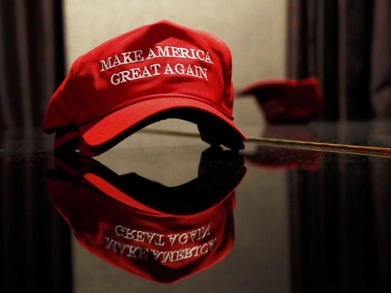 A Trump hat sits on a table outside of the rally for Republican US presidential nominee Donald Trump in New York City, New York. Photo: REUTERS/Andrew Kelly