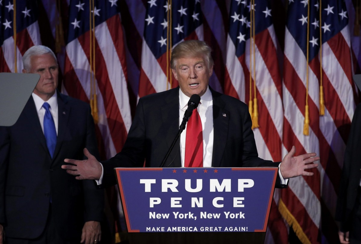 US President-elect Donald Trump addresses supporters during his election night rally in Manhattan, New York, US, November 9, 2016. Photo: Reuters/Mike Segar