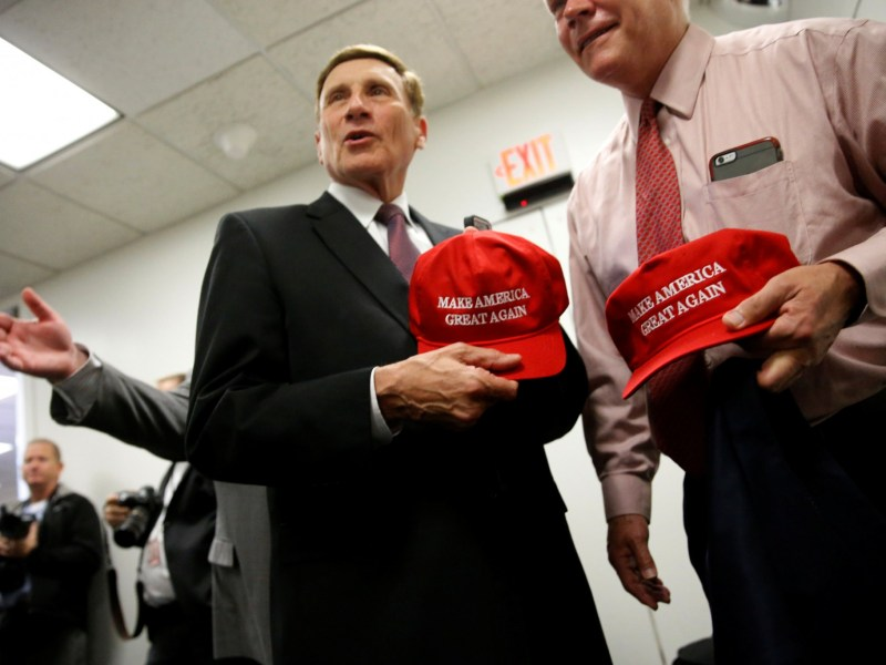 "US Republican representatives John Mica (Florida) and Pete Sessions (Texas) with ""Make America Great Again"" hats on November 15, 2016. Photo: Reuters/Jonathan Ernst"