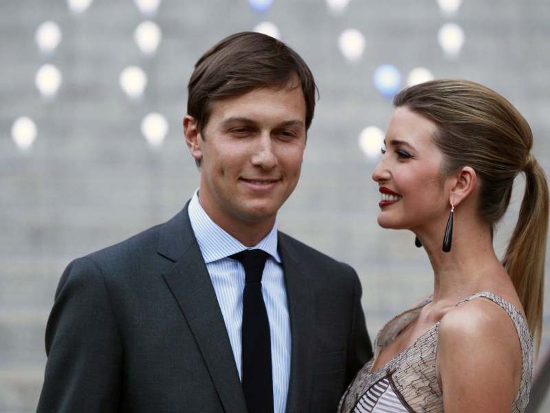 Ivanka Trump arrives with husband, Jared Kushner, at the Vanity Fair party to begin the 2012 Tribeca Film Festival in New York. Photo: Reuters/Lucas Jackson