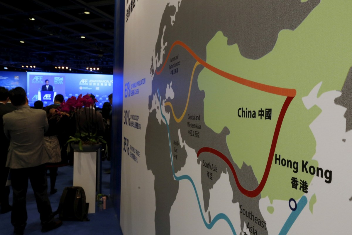 """A map illustrating China's silk road economic belt and the 21st century maritime silk road, or the so-called """"One Belt, One Road"""" megaproject. Photo: Reuters/Bobby Yip"""