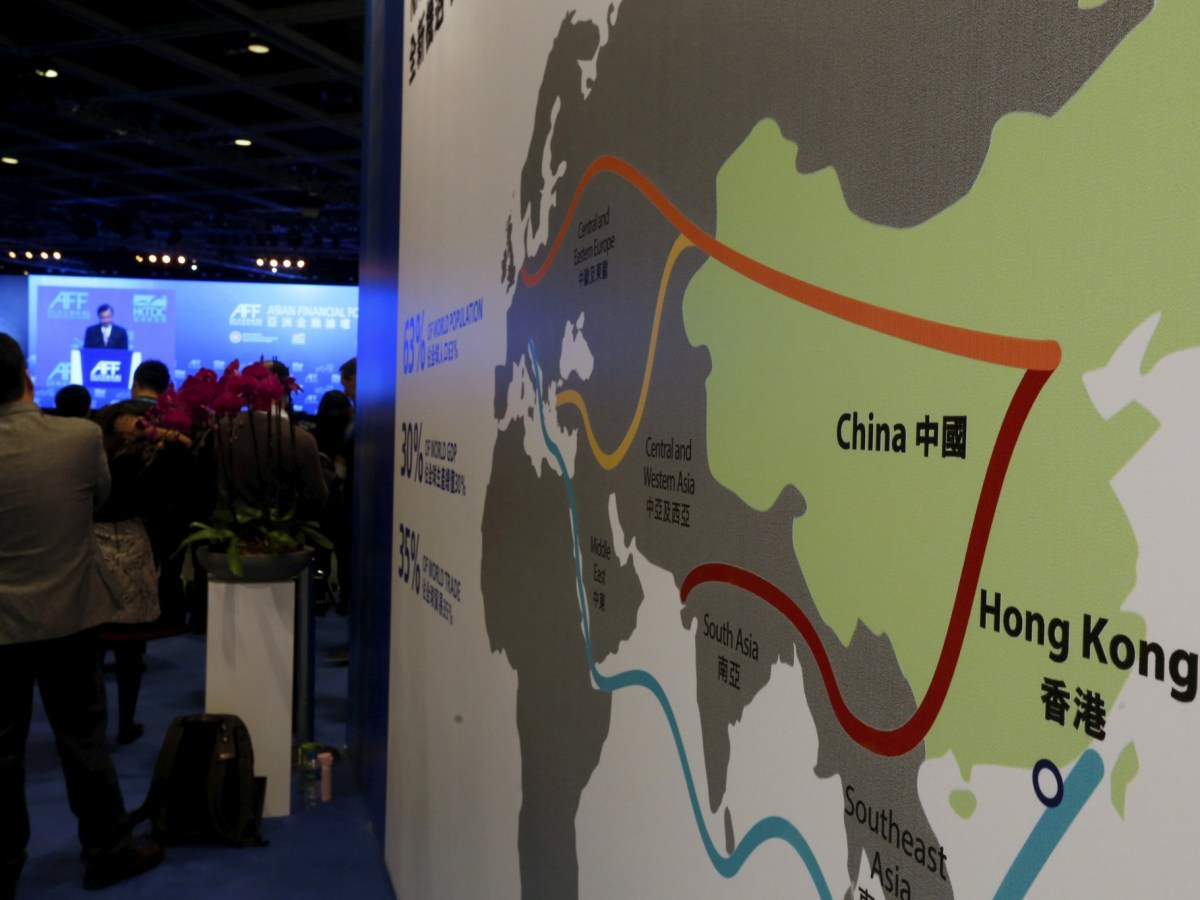 "A map illustrating China's silk road economic belt and the 21st century maritime silk road, or the so-called ""One Belt, One Road"" megaproject. Photo: Reuters/Bobby Yip"