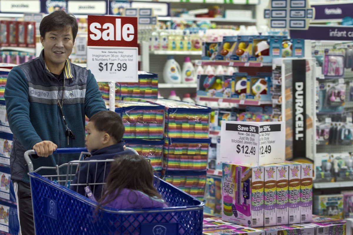 A man shops in a Toys-R-US store in Virginia during a Black Friday sale on Thanksgiving evening in 2015. Photo: AFP/Paul J. Richards