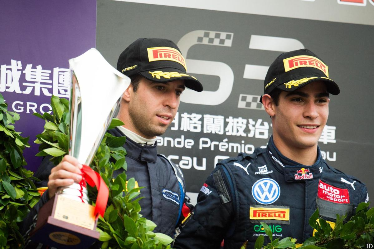 Antonio Felix da Costa with rising star and Carlin teammate Brazilian Sergio Sette Camara on the podium. Photo: Macau Grand Prix
