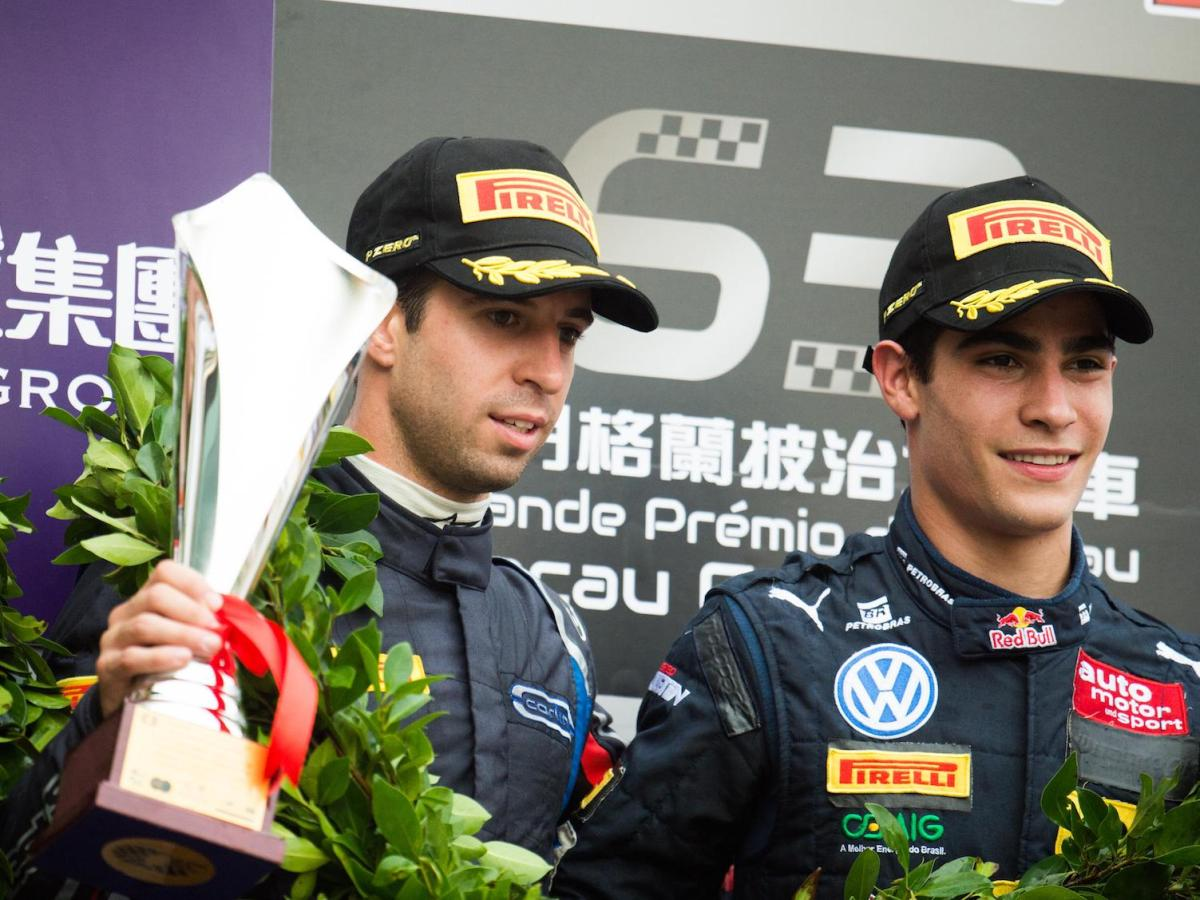 Antonio Felix da Costa with rising star and Carlin teammate Brazilian Sergio Sette Camara on the podium. Photo: Macau Grand Prix