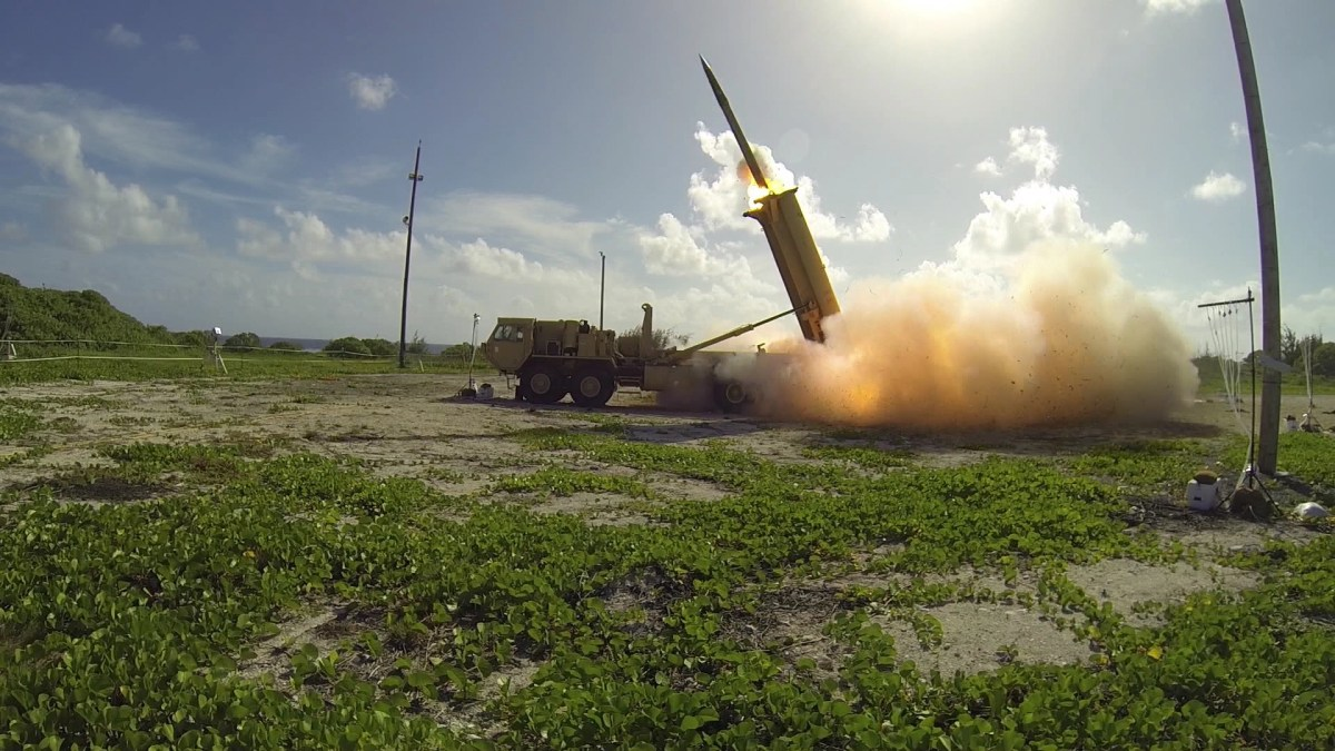 The launch of a US High Altitude Area Defense (THAAD) interceptor. Photo: AFP