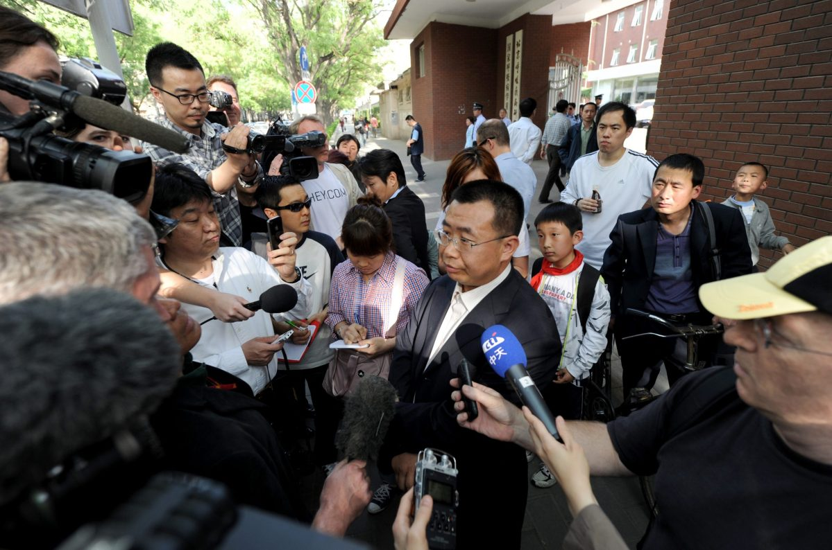 Jiang Tianyong represented the blind activist Chen Guangcheng in 2012. Photo: Mark RALSTON / AFP