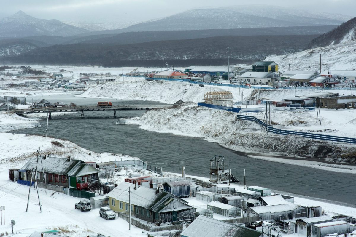 A picture taken on December 12, 2016 shows the town of Kurilsk on the island of Iturup. Soviet troops seized the Kuril Islands in 1945. Photo: AFP/Andrey Kovalenko