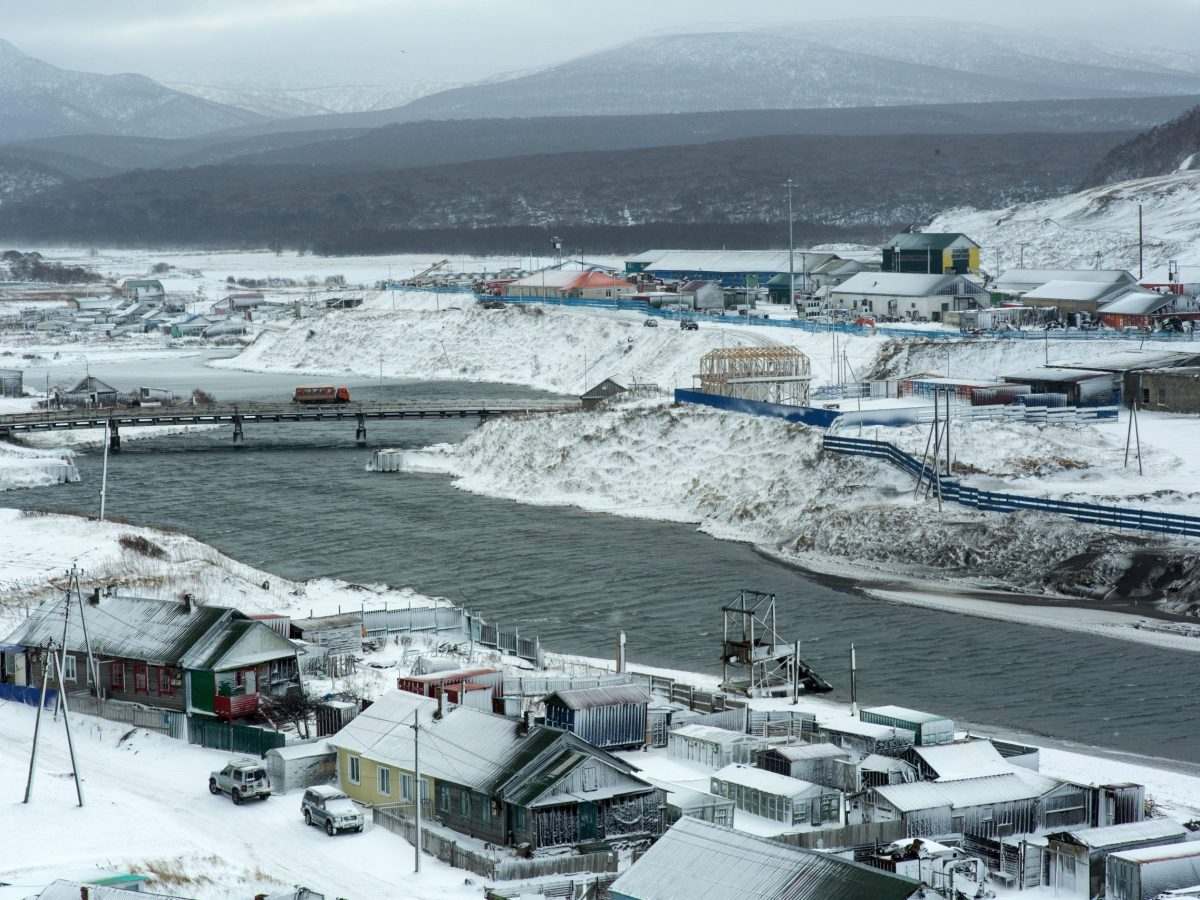 A picture taken on December 12, 2016 shows the town of Kurilsk on the island of Iturup.Soviet troops seized the Kuril Islands in 1945. Photo: AFP/Andrey Kovalenko