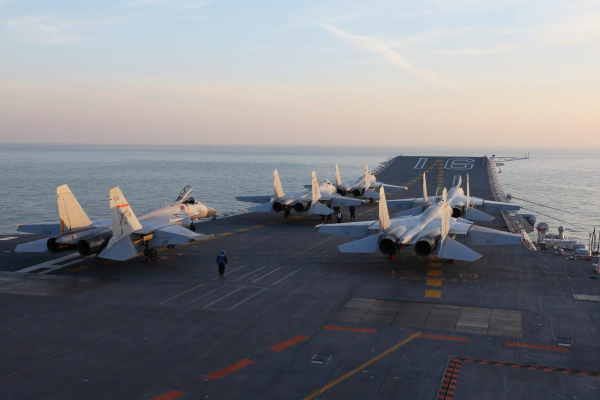 Chinese J-15 fighter jets on the deck of the Liaoning aircraft carrier during military drills in the Bohai Sea, off China's northeast coast. Photo: AFP