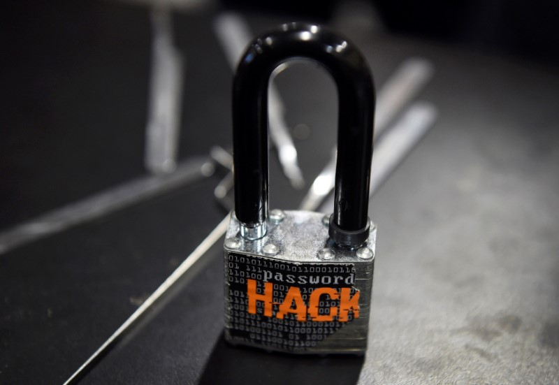 A padlock is displayed at the Alert Logic booth during the 2016 Black Hat cyber-security conference in Las Vegas, Nevada, U.S. in this August 3, 2016 file photo.  Reuters/David Becker