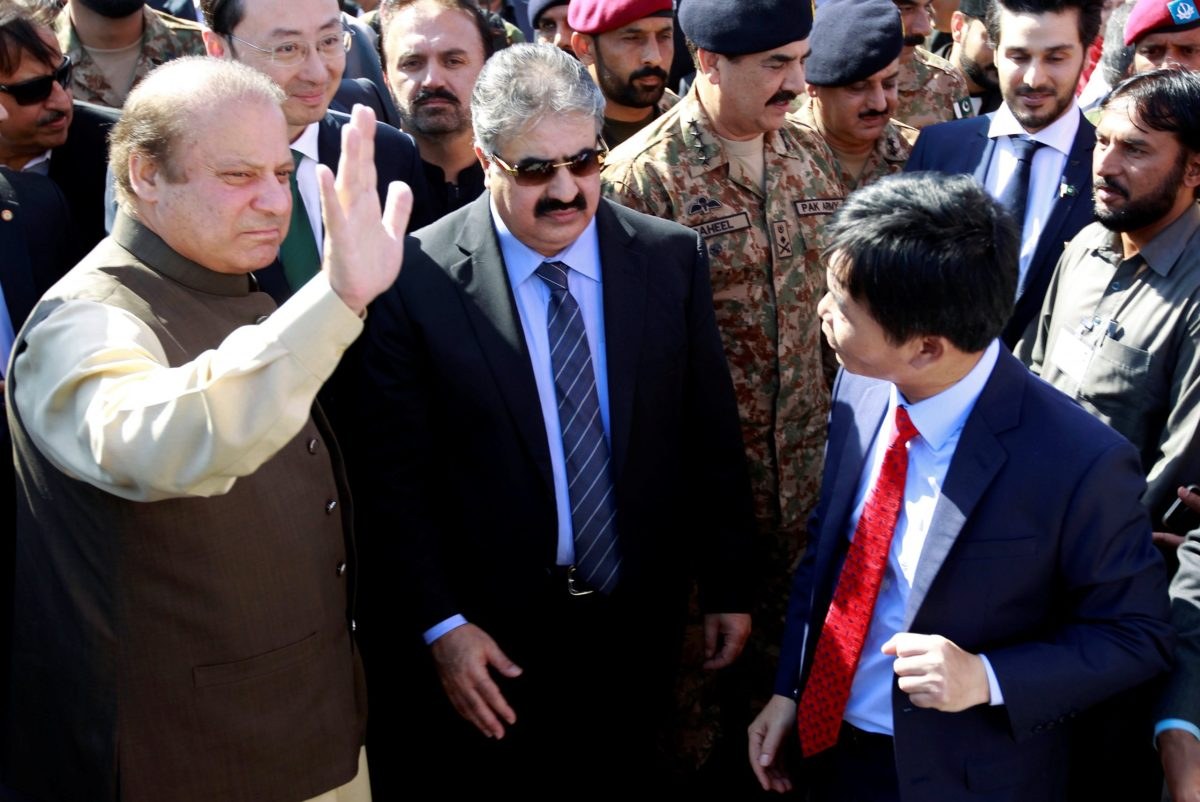 Pakistan's Prime Minister, Nawaz Sharif, waves to the crew of the first Chinese container ship to depart after the inauguration of the China Pakistan Economic Corridor port in Gwadar, on November 13. Photo: REUTERS/Caren Firouz