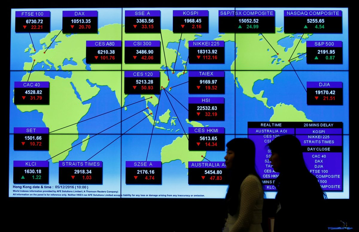 A panel displays global stock indexes at the Hong Kong Exchanges in Hong Kong, China December 5, 2016. Photo: Reuters/Bobby Yip