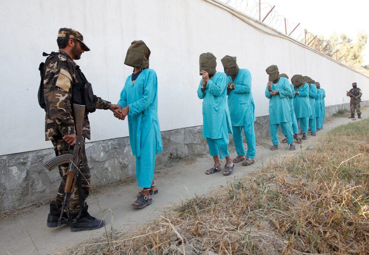 Taliban militants, who were arrested by Afghan security forces arrive during a presentation to the media in Jalalabad city, Afghanistan December 6, 2016. REUTERS/Parwiz