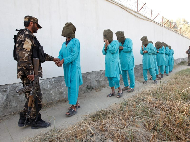 Taliban militants, who were arrested by Afghan security forces arrive during a presentation to the media in Jalalabad city, Afghanistan December 6, 2016. REUTERS/Parwiz