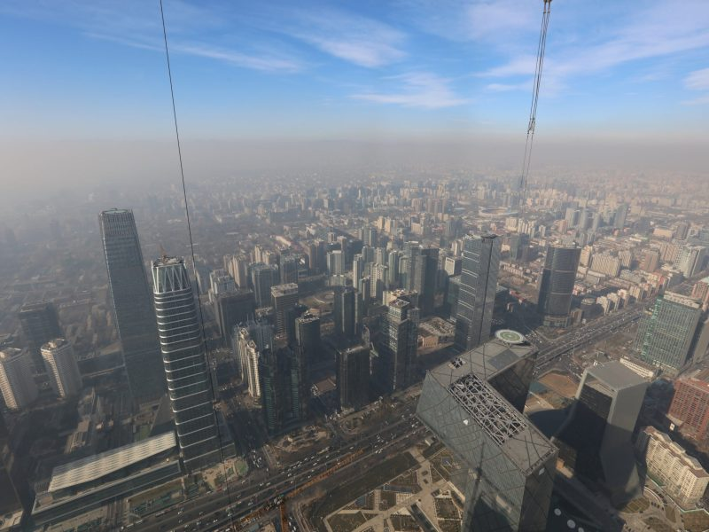 Smog over Beijing where a red alert for air pollution has been issued. Photo: Reuters