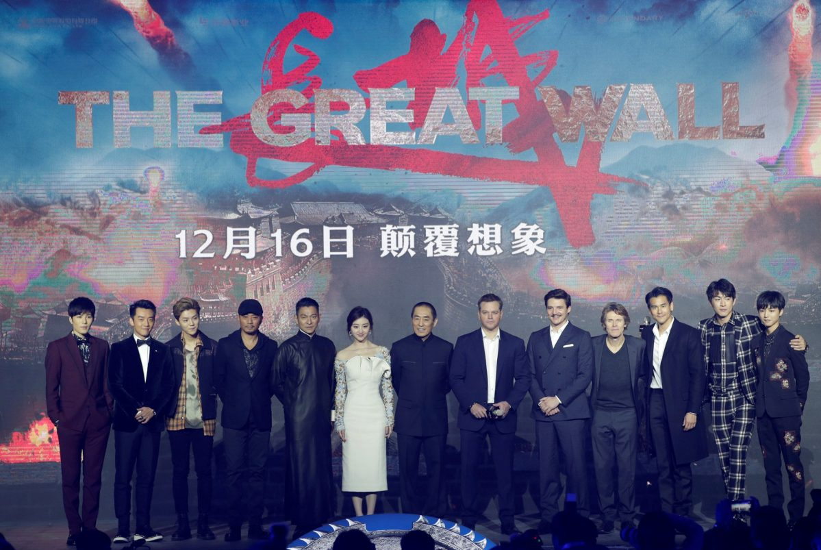 Chinese director Zhang Yimou and cast members of his film The Great Wall. Photo: Reuters