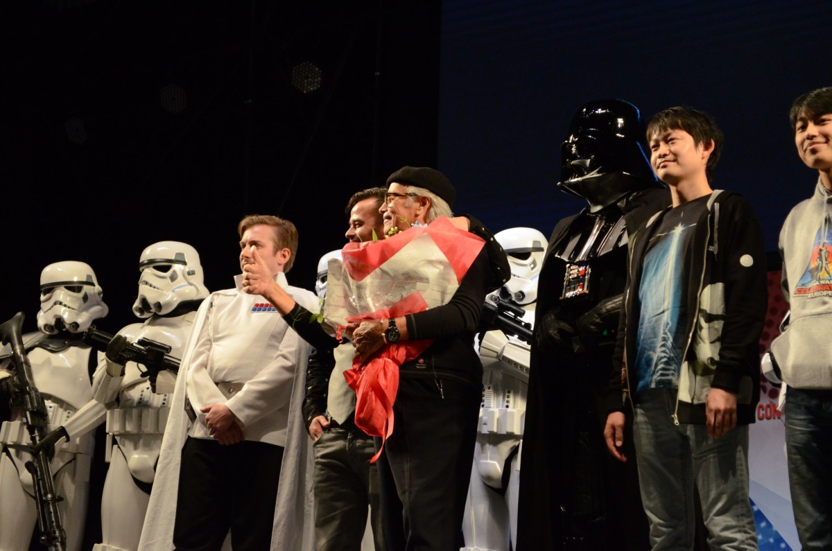 Star Wars set production designer Alan Roderick-Jones (C) acknowledges the audience at the Toko Comic Con on December 3, 2016. Photo: Asia Times
