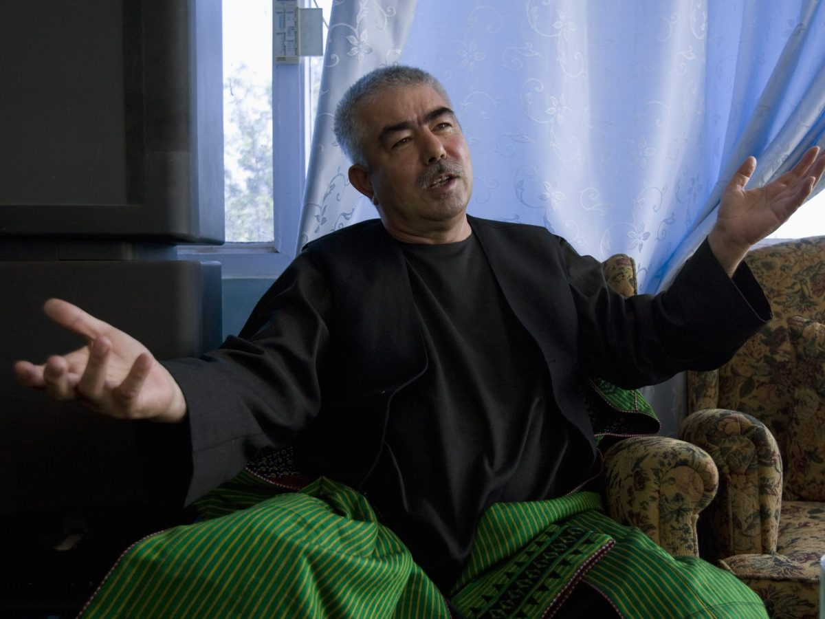 General Abdul Rashid Dostum, shown here at his palace in Shiberghan in northern Afghanistan on August 19, 2009, is a thorn in the side of President Ashraf Ghani. Photo: Reuters/Caren Firouz