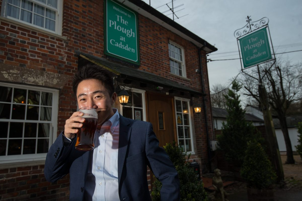 Peter Zhang, Managing Director of SinoFortone Group, outside The Plough at Cadsden, Buckinghamshire. The group bought the pub after it was visited by Chinese Premier Xi Jinping last year, and aims to develop a chain of English-style pubs in China. Photo by Richard Jones/Sinopix for the Asia Times