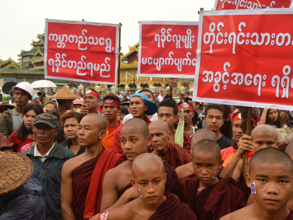 Myanmar Buddhist monks participate in an anti-Muslim demonstration in Sittwe, Rakhine State on July 3, 2016. Sectarian violence has left scores dead since 2012. Photo: AFP / Win Moe