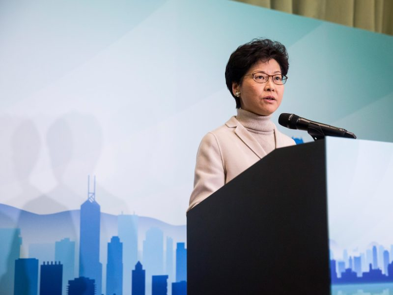 Carrie Lam speaks at a press conference to announce her candidacy for the 2017 Hong Kong Chief Executive election. Photo: AFP/Isaac Lawrence