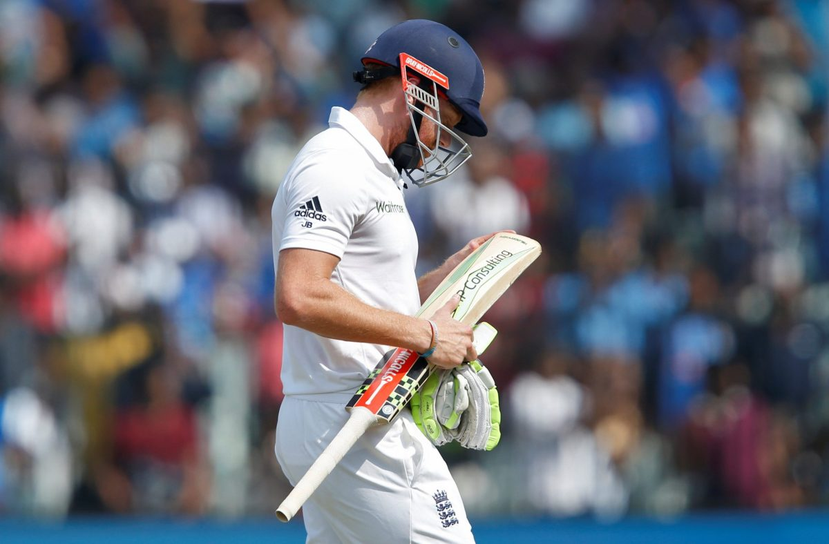 Cricket - India v England - Fifth Test cricket match - M A Chidambaram Stadium, Chennai, India - 20/12/16. England's Jonny Bairstow walks off the field after being dismissed. REUTERS/Danish Siddiqui