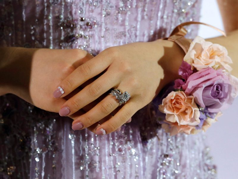 Japan's table tennis Olympian Ai Fukuhara's wedding ring is pictured during at a news conference before her wedding ceremony in Taipei January 1, 2017. REUTERS/Tyrone Siu