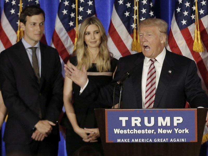 Connections are king. Donald Trump speaks as his son-in-law Jared Kushner and his daughter Ivanka listen. Photo: Reuters/Mike Segar