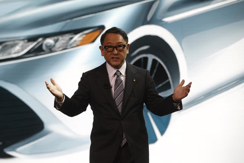 Akio Toyoda, president of Toyota Motor Corporation, speaks at the North American International Auto Show in Detroit, Michigan, on January 9, 2017. Photo: Reuters / Mark Blinch