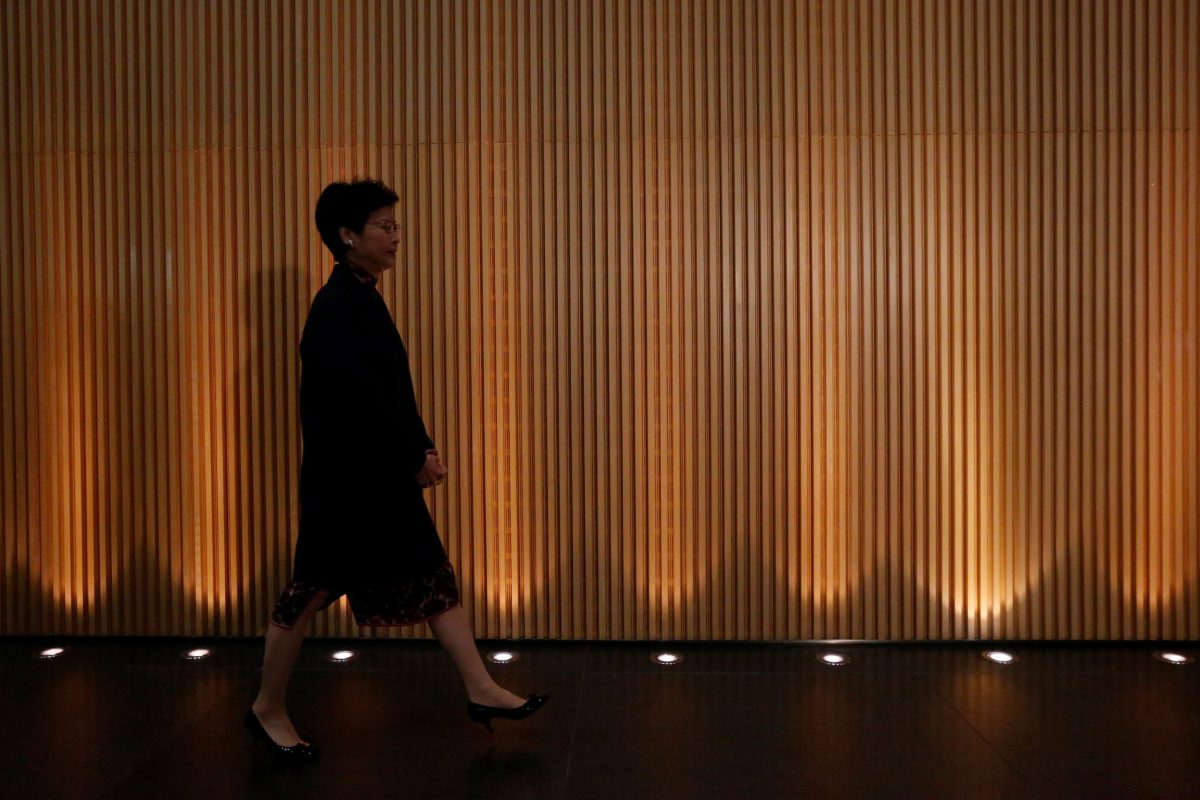 Hong Kong Chief Secretary Carrie Lam arrives to speaks to journalists on her resignation in Hong Kong, China January 12, 2017. REUTERS/Bobby Yip