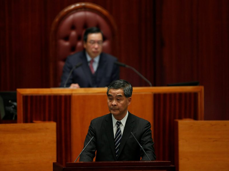 Hong Kong Chief Executive Leung Chun-ying presents his Policy Address in front of Legislative Council President Andrew Leung. Photo: Reuters / Bobby Yip
