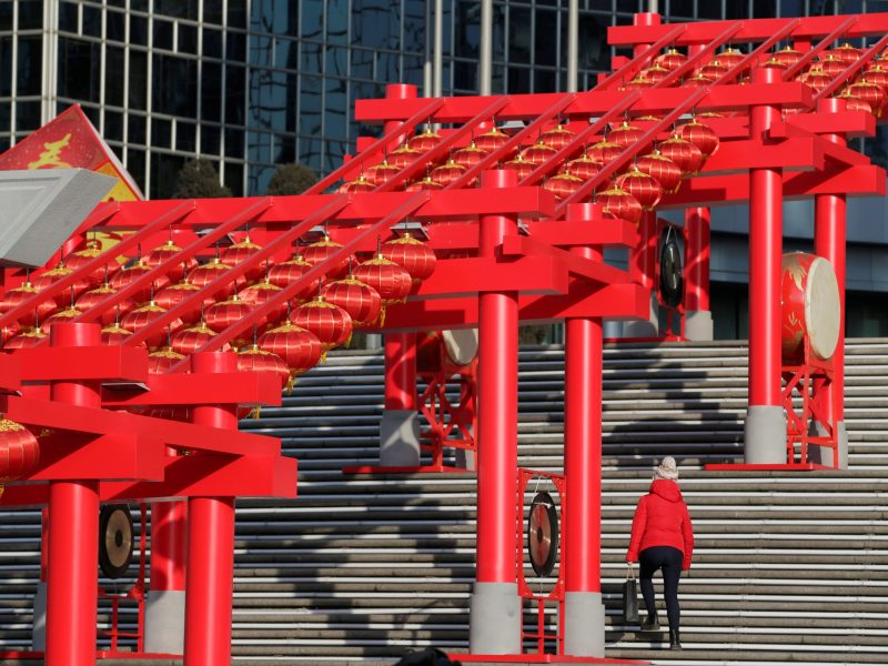 Decorations are placed to celebrate the upcoming Chinese New Year of Rooster at Oriental Plaza in Beijing, China, January 18, 2017. Photo: Jason Lee/Reuters
