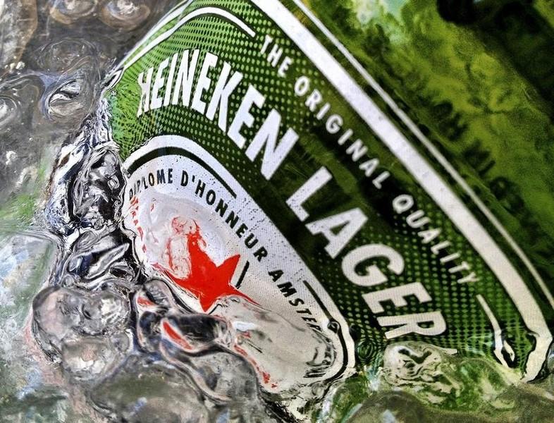 A bottle of Heineken beer is seen in ice. Photo: Reuters/Matthew Lee