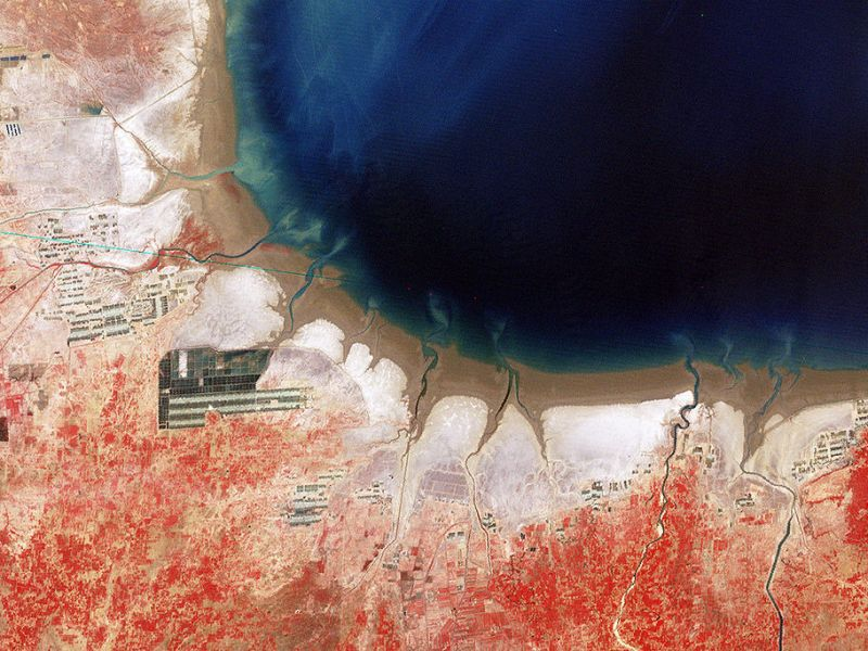 Salt flats in the Bohai Sea in China's northeast as seen from Space. Photo: Nasa, via Wikimedia Commons