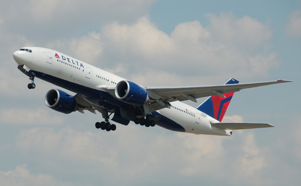 A Delta Airlines Boeing 777-200LR plane. Photo: Wikipedia Commons