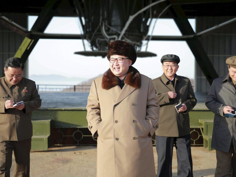 North Korea leader Kim Jong-un smiles as he visits Sohae Space Center in Cholsan County, North Pyongan province for the testing of a new engine for an intercontinental ballistic missile (ICBM). Photo: KCNA via Reuters
