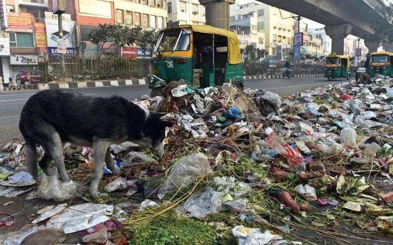 Citizens  in Delhi are fearing outbreak of diseases as tonnes of garbage lay across east Delhi following the strike by sanitation workers. --Photo/AFP/Files
