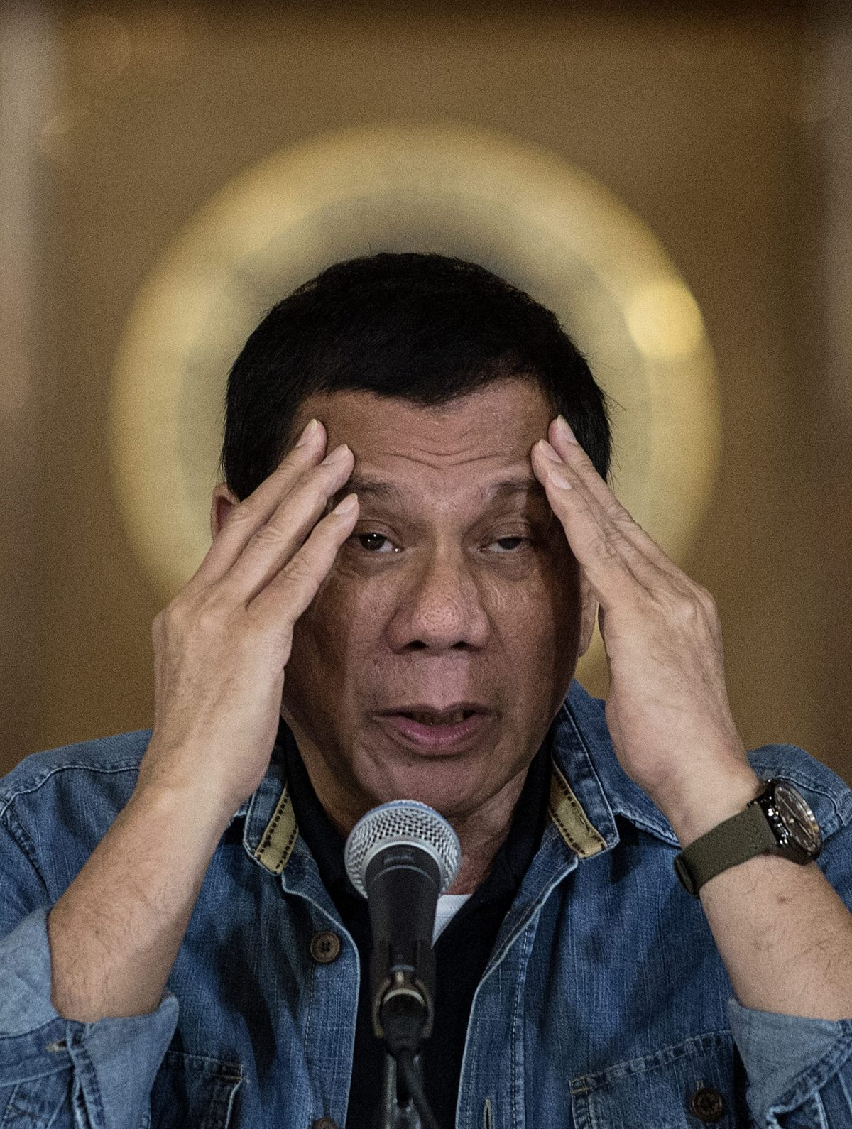 Philippine President Rodrigo Duterte answers a question during a press conference at the Malacanang palace in Manila on January 30, 2017.  Photo: AFP / Noel Celis