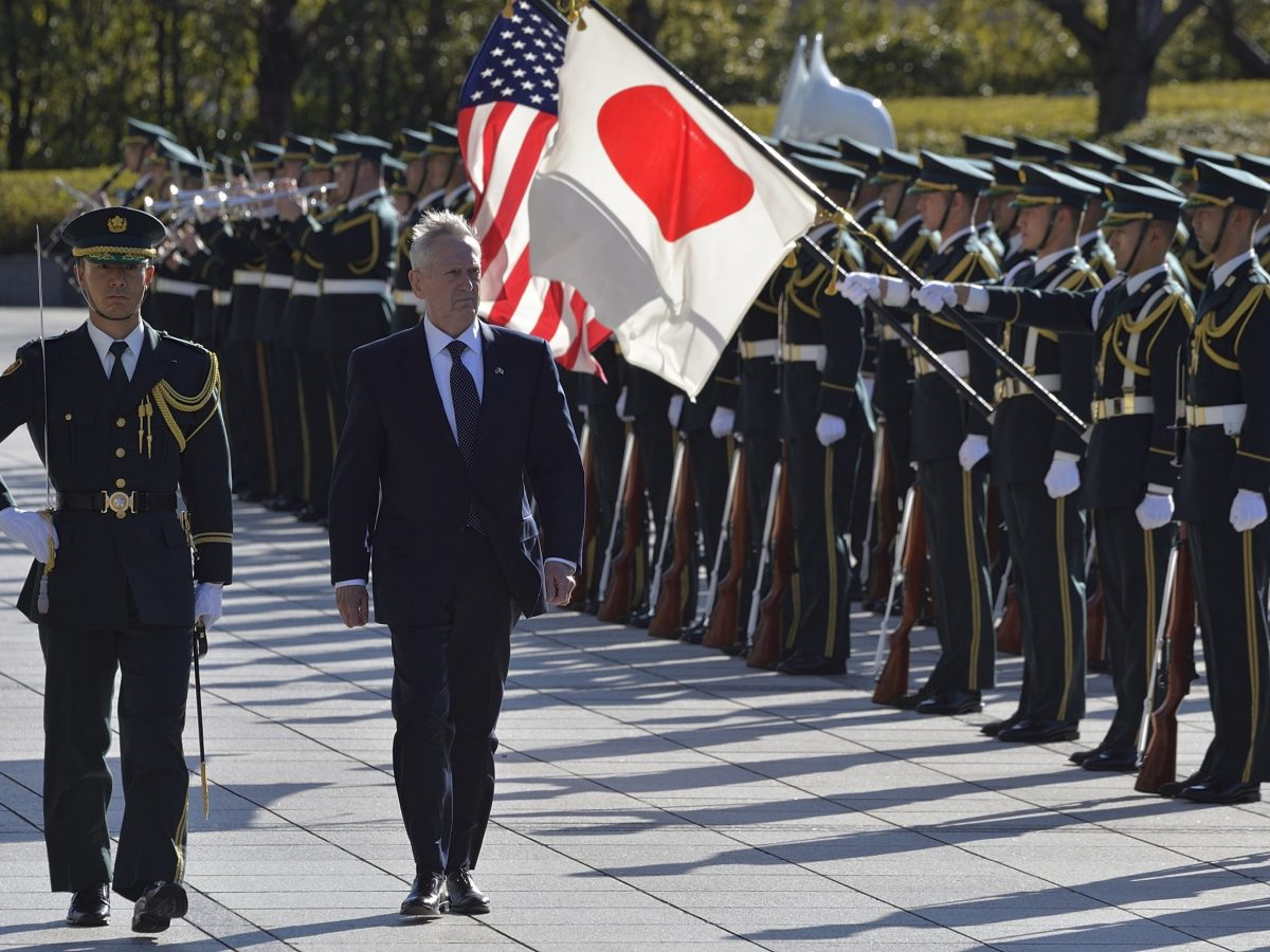 US Defense Secretary James Mattis and Japanese Defense Minister Tomomi Inada (not seen) walk past the honor guards at the Ministry of Defence in Tokyo, Japan on February 4, 2017. Photo: AFP/David Mareuil/ Anadolu Agency