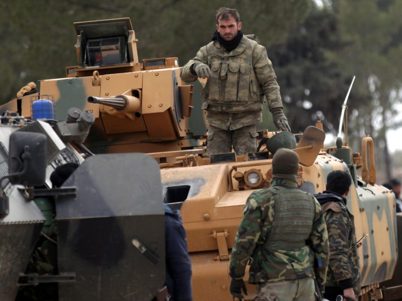 Turkish forces and members of the Free Syrian Army are seen at the al Baza'a village on the outskirts of al-Bab town in Syria February 4, 2017. Picture Taken February 4, 2017. REUTERS/Khalil Ashawi