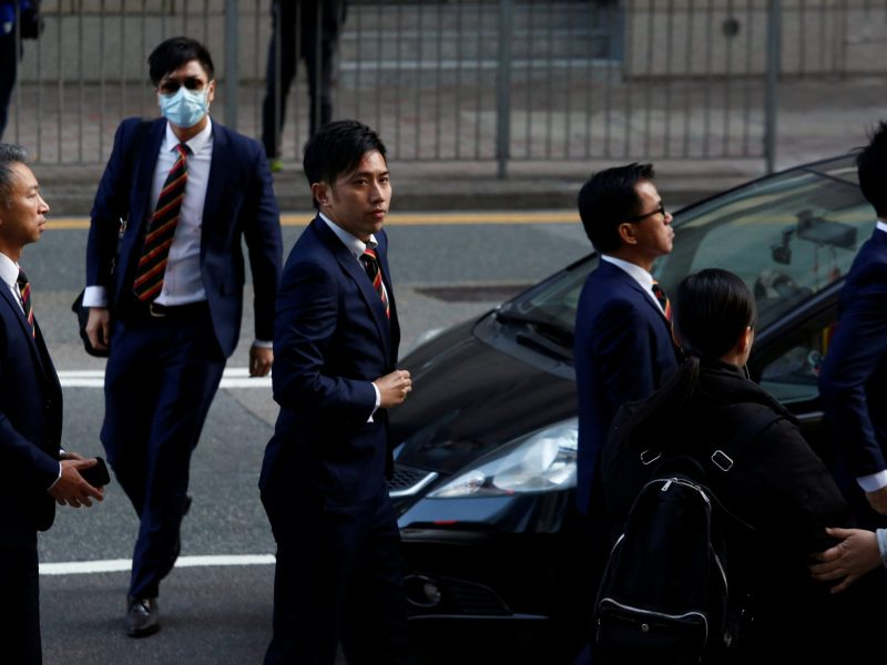 Five of the seven police officers (L-R) Chief Inspector Wong Cho-sing, Police Constable Chan Siu-tan, Police Constable Kwan Ka-ho, Sergeant Pak Wing-bun and Senior Inspector Lau Cheuk-ngai, charged in connection with the beating of a protester during Occupy Central pro-democracy demonstrations, arrive at a court in Hong Kong, China February 14, 2017. REUTERS/Bobby Yip